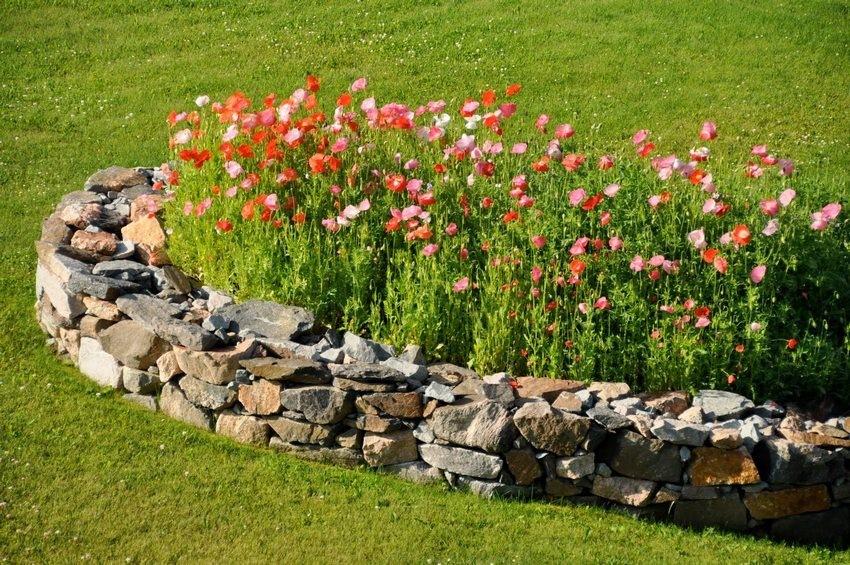 """Ограждение цветущих растений """"диким"""" камнем"""