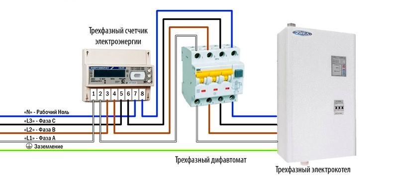 Схема трехфазного подключения электрокотла