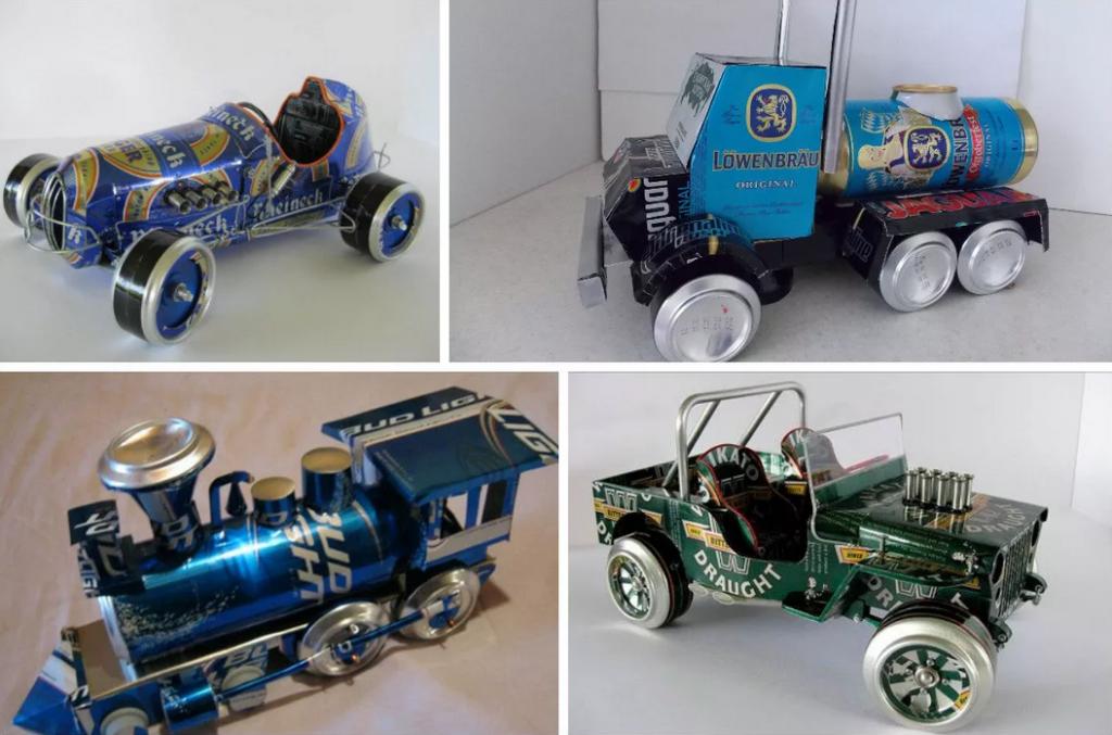 Паровоз и машины из металлических банок