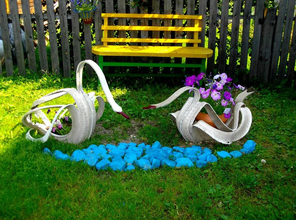панда декор для сада из шин фото взгляд выразительным