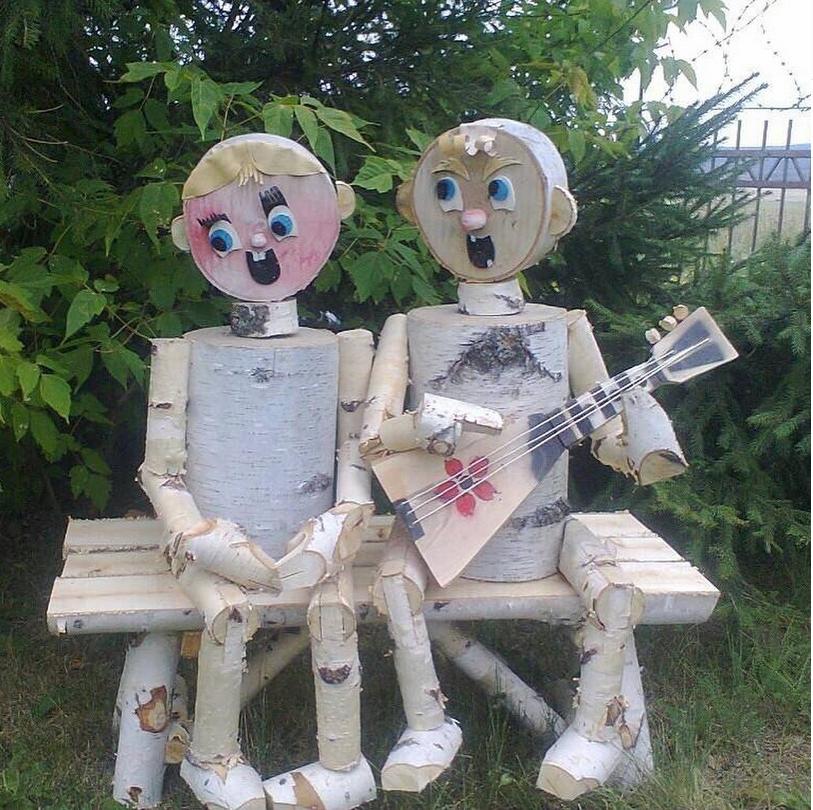 Фигурки из деревянных спилов