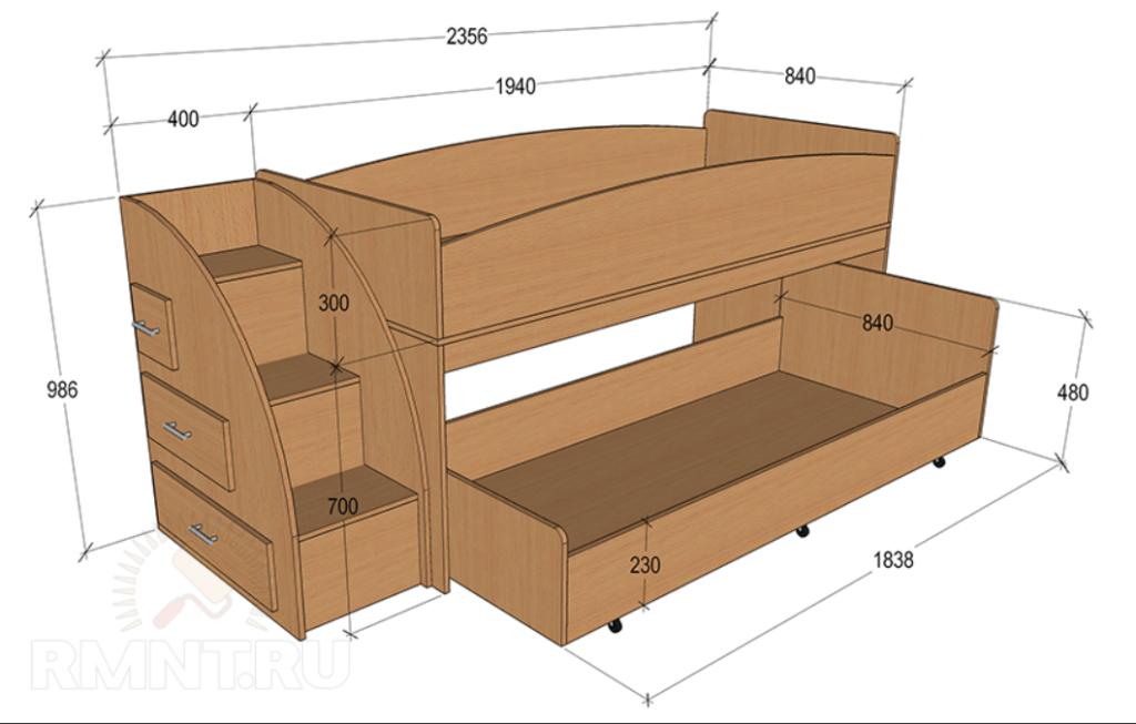 Двухъярусная кровать с размерами
