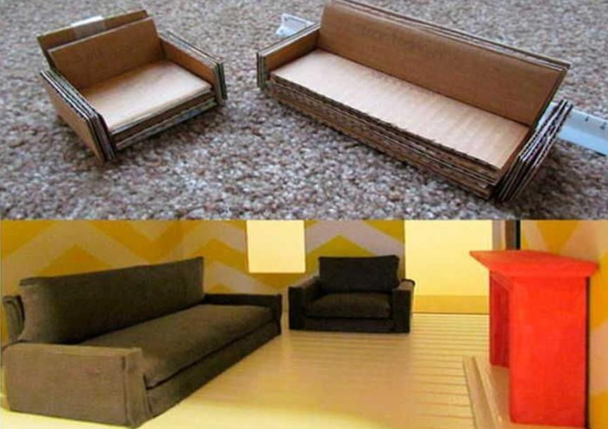 Картонный диван
