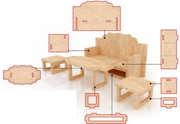 Схема мебели для кукол