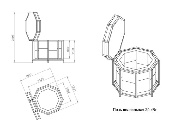 Конструкция с вертикальной топкой