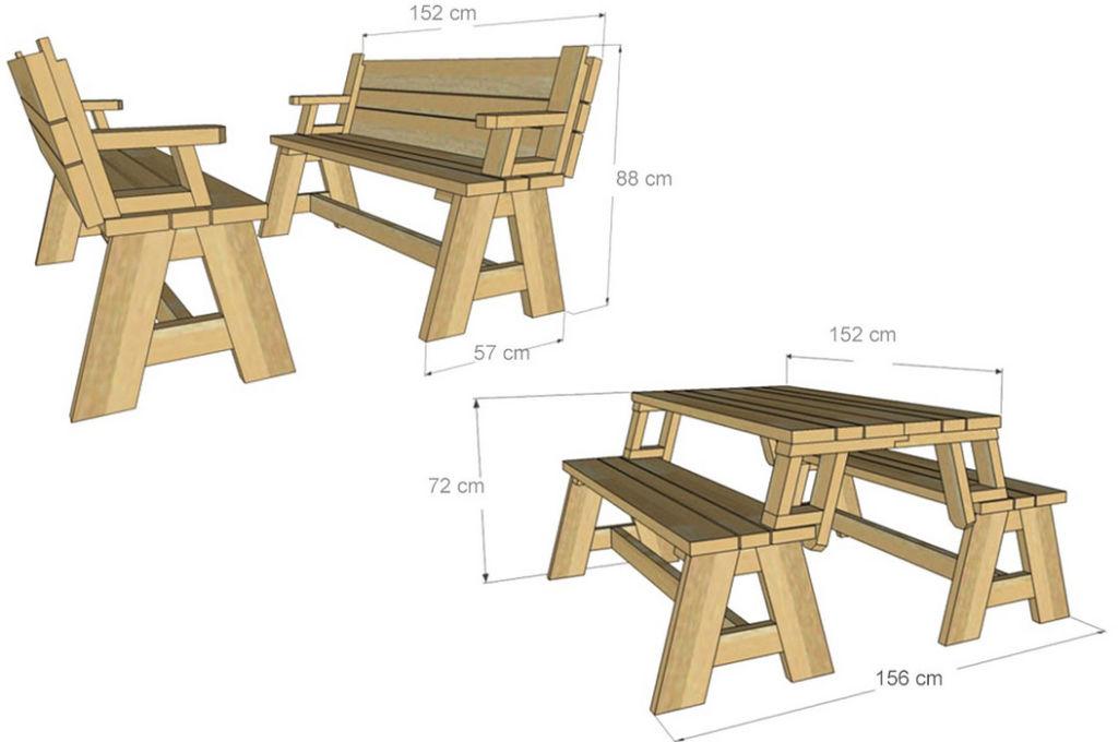 Стол или 2 скамьи