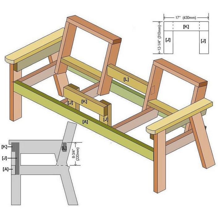 Скамья со столиком