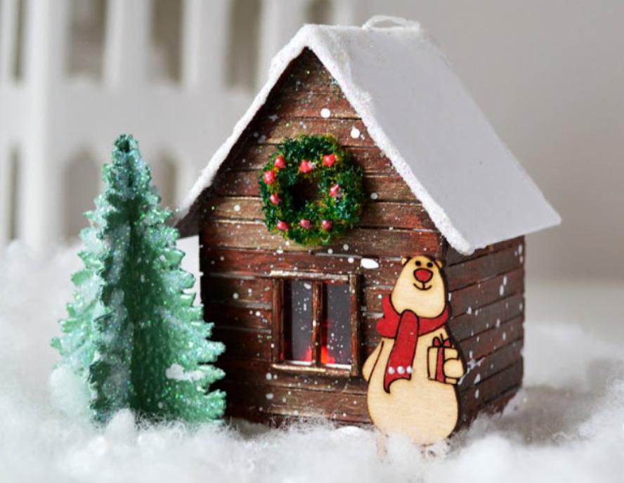 Новогодний пейзаж с домиком