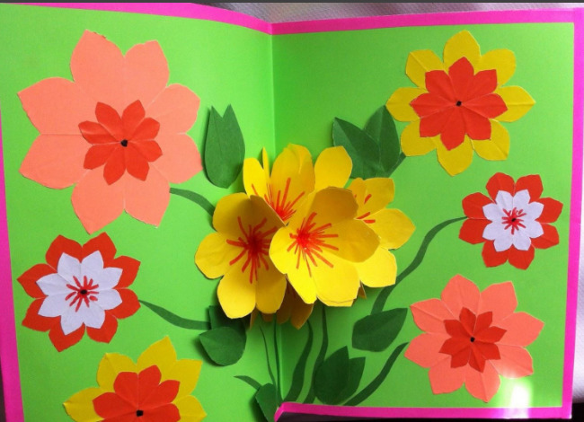 Открытка из цветной бумаги