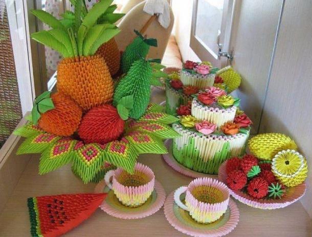 Овощи из оригами
